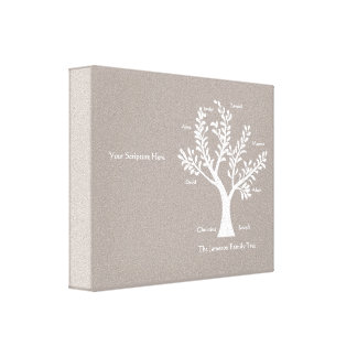 Scripture Family Tree  Canvas Print, Warm Gray