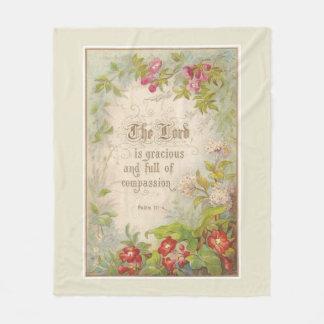 Scripture Flowers Greenery Vintage Antique Fleece Blanket