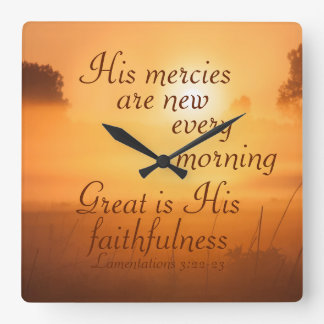 Scripture His mercies are new every morning Wall Clocks