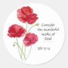 Scripture, Inspirational, Quote, Flower, Poppy Classic Round Sticker