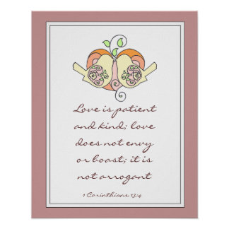 Scripture Love 1 Cor 13:4, Wedding or Shower gift Poster