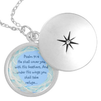 Scripture Psalm 91:4 Refuge Under His Wings Verse Round Locket Necklace