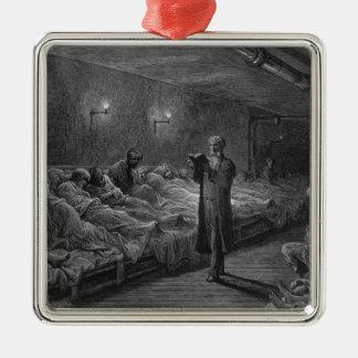 Scripture Reader in a Night Refuge Silver-Colored Square Decoration