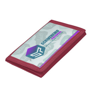 Scriveremo logo on greetings background tri-fold wallet