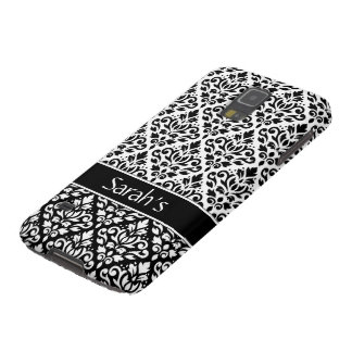 Scroll Damask 2Pt Ptn BW & Band (Personalized) Galaxy S5 Case