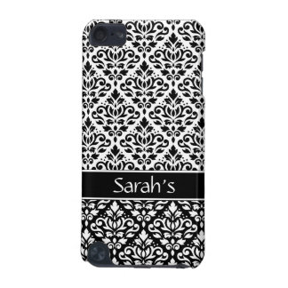 Scroll Damask 2Pt Ptn BW & Band (Personalized) iPod Touch (5th Generation) Covers