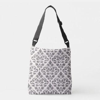 Scroll Damask 2Way Big Pattern Gray & Cream Crossbody Bag