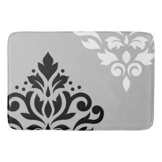Scroll Damask Art I B&W on Lt Gray Bath Mats