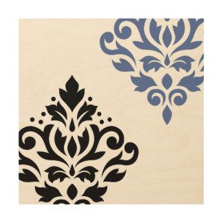 Scroll Damask Art I Black & Blue