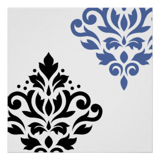 Scroll Damask Art I Black & Blue on White Poster