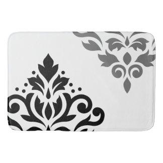 Scroll Damask Art I Black & Grey on White Bath Mats