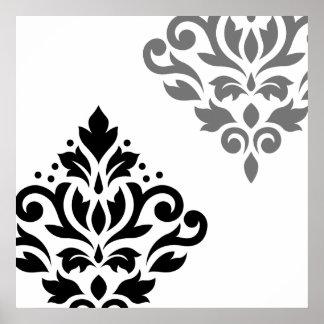 Scroll Damask Art I Black & Grey on White Poster