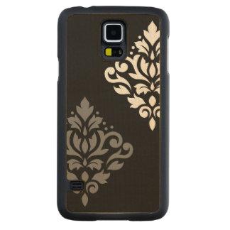 Scroll Damask Art I Black Grey White Carved Maple Galaxy S5 Case