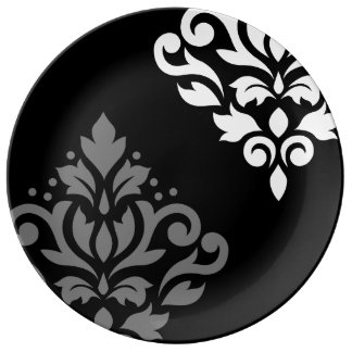 Scroll Damask Art I Black Grey White Plate