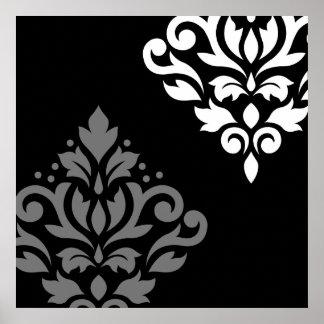 Scroll Damask Art I Black Grey White Poster