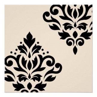 Scroll Damask Art I Black on Cream Poster