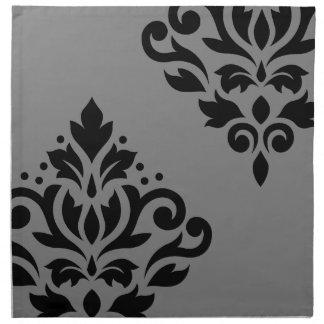 Scroll Damask Art I Black on Grey Napkin