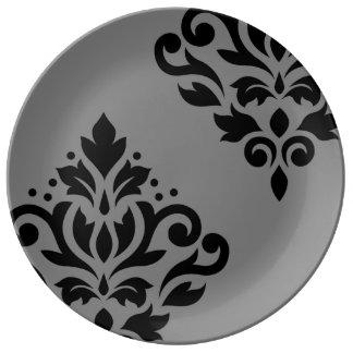 Scroll Damask Art I Black on Grey Plate