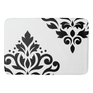 Scroll Damask Art I Black on White Bath Mat