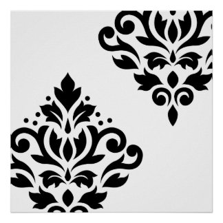 Scroll Damask Art I Black on White Posters