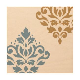 Scroll Damask Art I Blue Gold Cream Wood Canvas