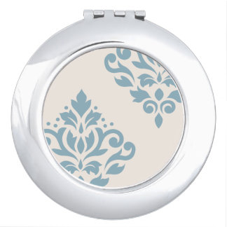 Scroll Damask Art I Blue on Cream Compact Mirrors