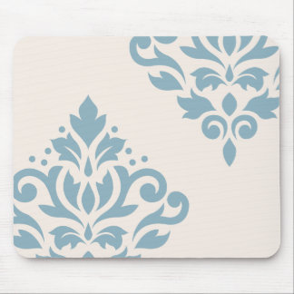 Scroll Damask Art I Blue on Cream Mouse Pad