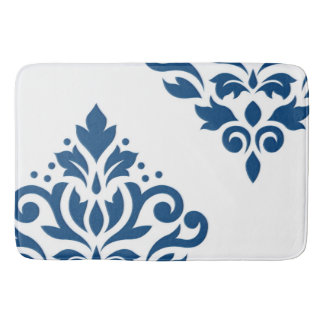 Scroll Damask Art I Blue on White Bath Mat