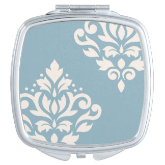 Scroll Damask Art I Cream on Blue Compact Mirrors