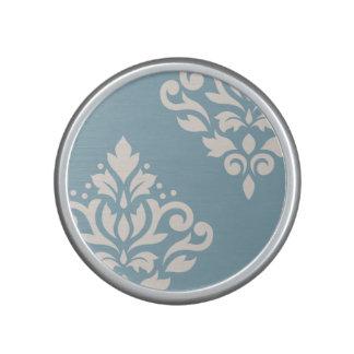 Scroll Damask Art I Cream on Blue Bluetooth Speaker