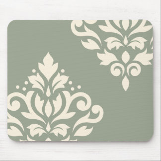 Scroll Damask Art I Cream on Green Mouse Pad