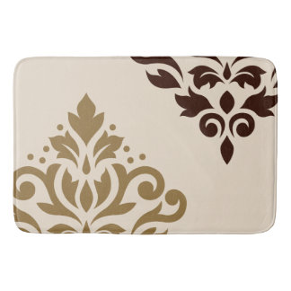 Scroll Damask Art I Gold & Brown on Cream Bath Mat