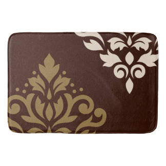 Scroll Damask Art I Gold & Cream on Brown Bath Mat