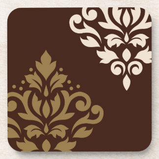 Scroll Damask Art I Gold & Cream on Brown Coaster
