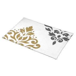 Scroll Damask Art I Gold & Grey on White Placemat