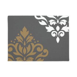 Scroll Damask Art I Gold & White on Grey Doormat