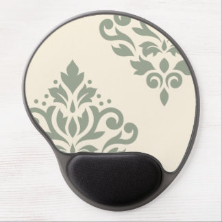 Scroll Damask Art I Green on Cream Gel Mouse Pad
