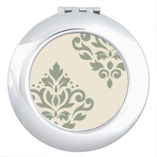 Scroll Damask Art I Green on Cream Makeup Mirror