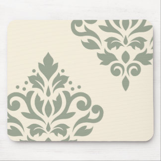 Scroll Damask Art I Green on Cream Mouse Pad