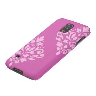 Scroll Damask Art I Light on Dark Pink Galaxy S5 Covers