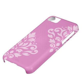 Scroll Damask Art I Light on Dark Pink iPhone 5C Case