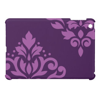 Scroll Damask Art I Light on Dark Plum (H) iPad Mini Case