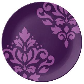 Scroll Damask Art I Light on Dark Plum Porcelain Plates