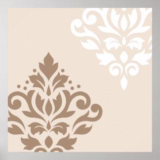 Scroll Damask Art I Light Taupe & White on Cream Poster