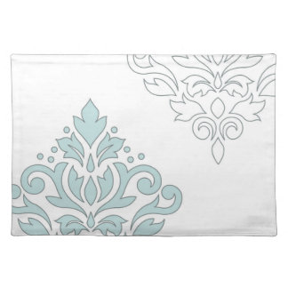 Scroll Damask Art I (line) Duck Egg Blue Gray Wt Placemat