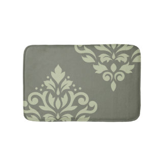 Scroll Damask Art I Lt on Dk Green Bath Mat