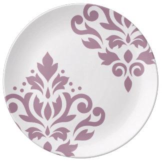 Scroll Damask Art I Mauve on Pink Porcelain Plate