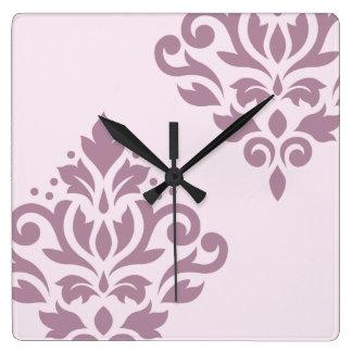 Scroll Damask Art I Mauve on Pink Wallclocks