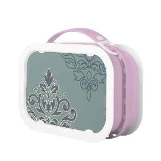 Scroll Damask Art I (outline) Cream Blues Teal Lunch Box