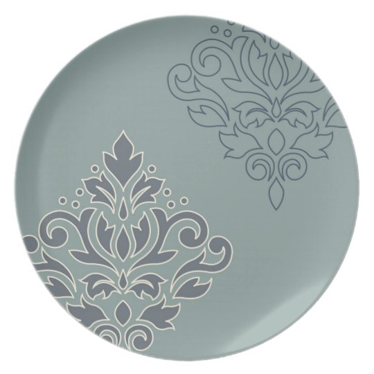 Scroll Damask Art I (outline) Cream Blues Teal Plate